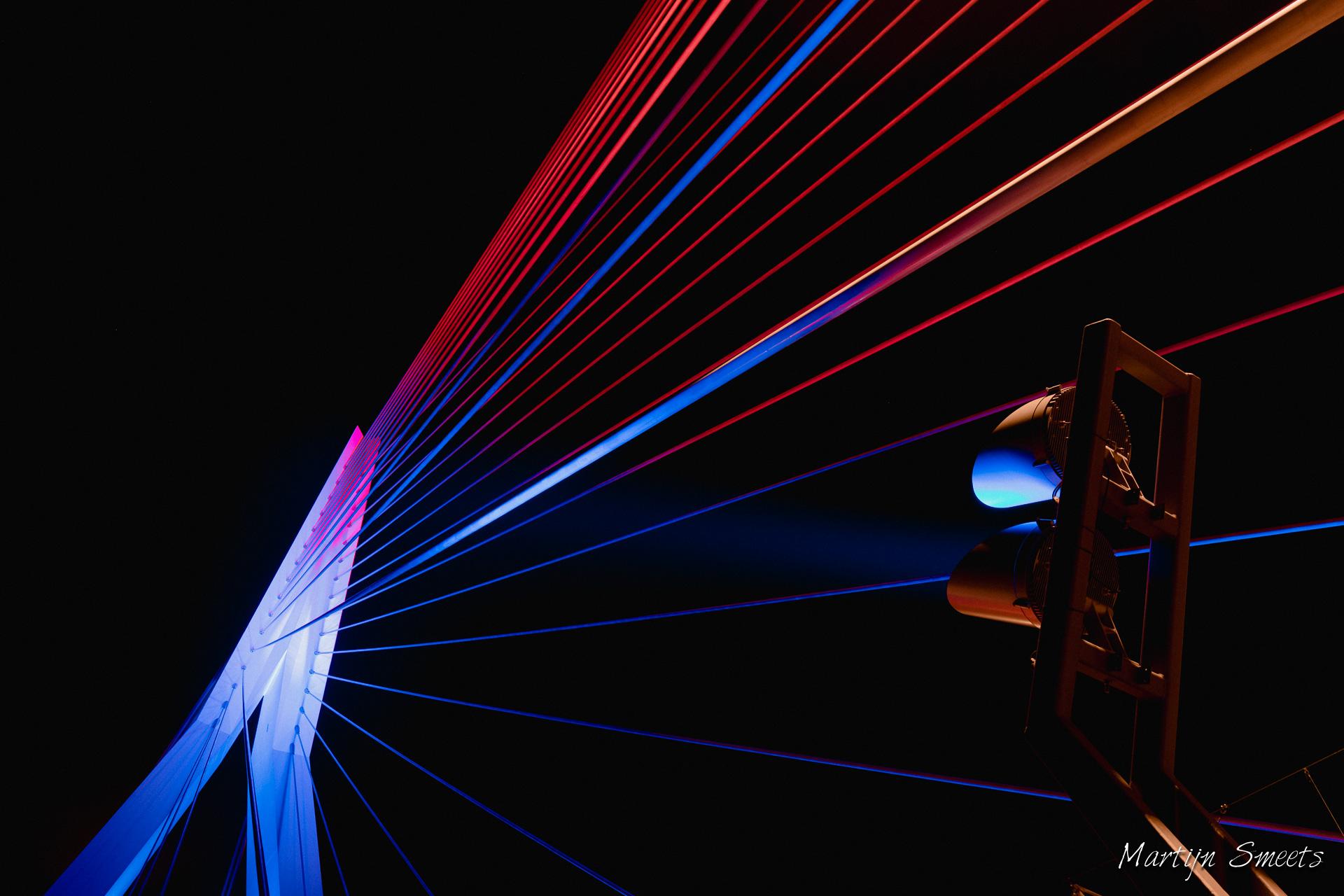 Erasmusbrug in kleur met LED verlichting · Martijn Smeets Fotografie