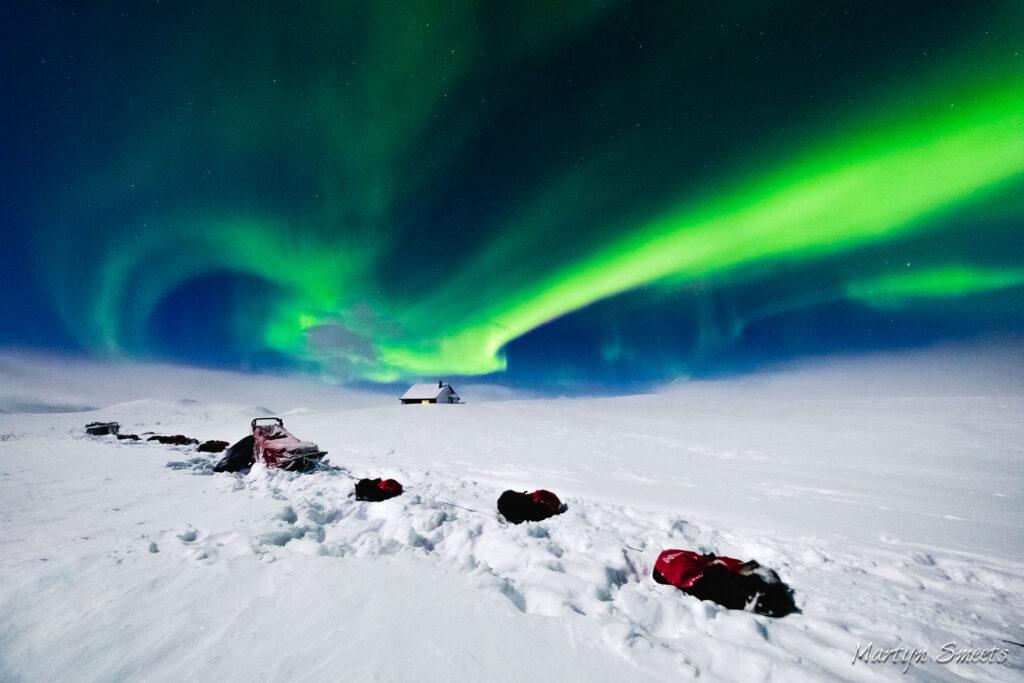 Huskies onder het Noorderlicht